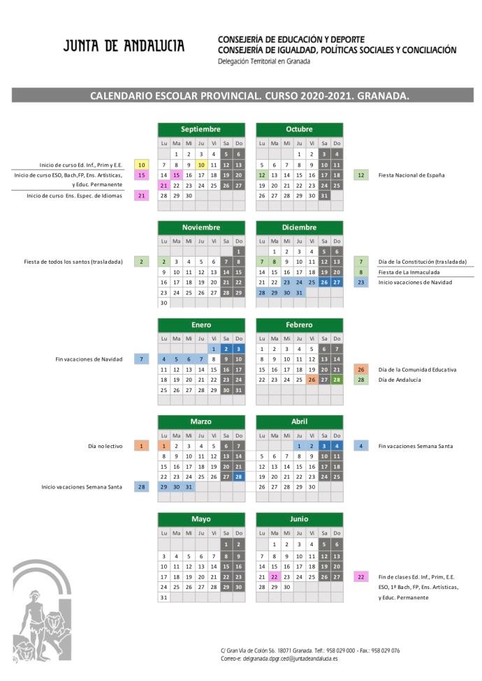 CUADRO CALENDARIO ESCOLAR GR 2020-21